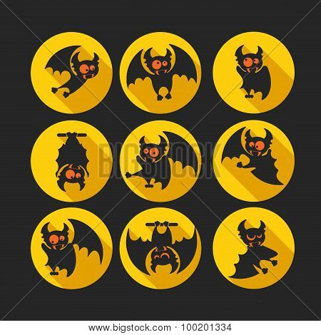 Round Flat Vector Icon Set With Vampire Bat For Halloween.