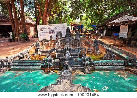 SIEM REAP, CAMBODIA - NOVEMBER 17, 2011: model of Angkor Wat. Angkor wat giant Hindu temple complex in Cambodia, dedicated to Lord Vishnu. It is one of the largest ever established places of worship