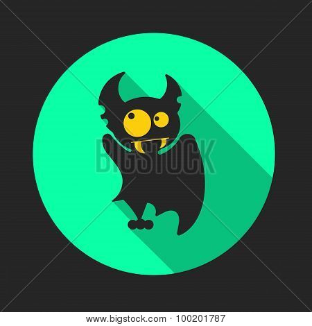 Round Flat Vector Icon With Vampire Bat For Halloween.