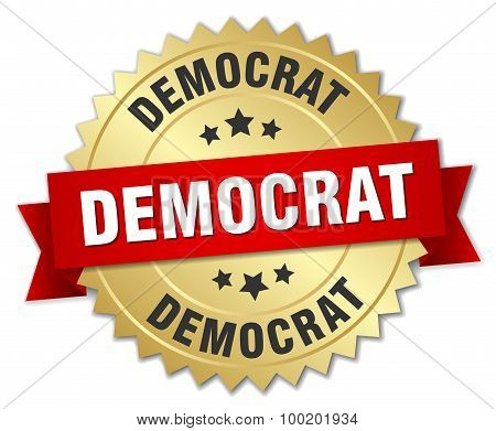 Democrat 3D Gold Badge With Red Ribbon