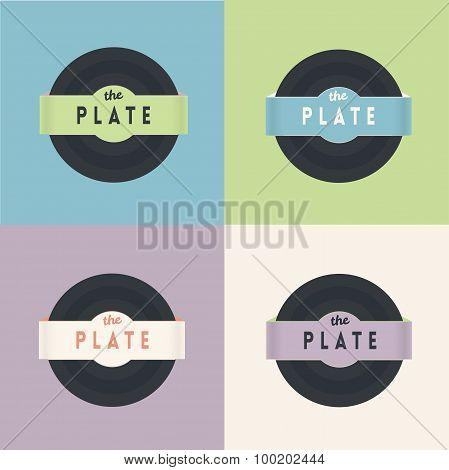 Vector illustration of a vinyl record in 4 colors