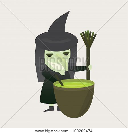 Vector wicked witch with a broom and potion