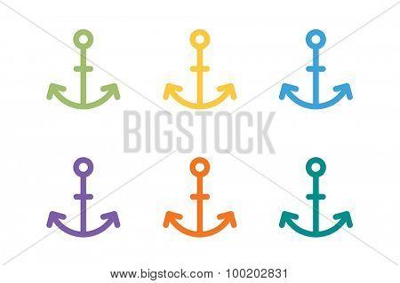 Anchor vector logo icon. Sea anchor logo. Sailor anchor tattoo, anchor symbol. Anchor company logotype. Anchor icons flat set. Vintage anchor old style template. Retro anchor shape