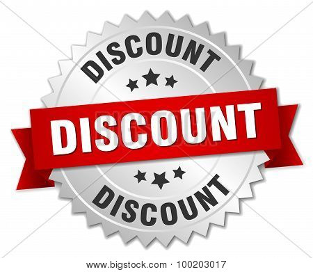 Discount 3D Silver Badge With Red Ribbon