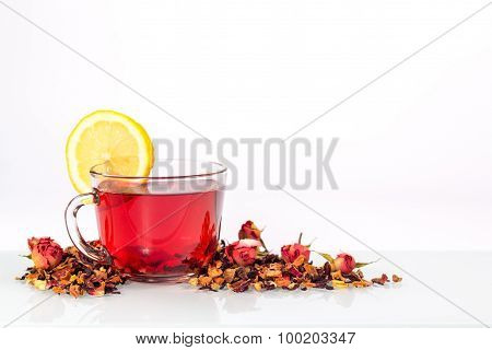 isolated transparent mug of red tea with lemon