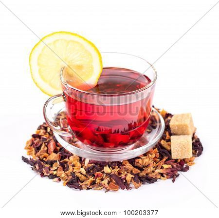 isolated transparent mug of red tea with lemon and sugar