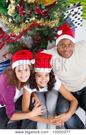 family sitting under christmas tree