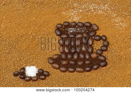 a Cup of coffee and a sugar cube, picture of coffee
