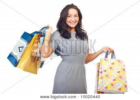 Laughing Young Woman At Shopping