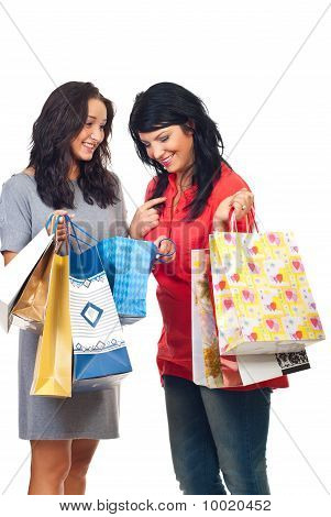 Happy Women Conversation At Shopping