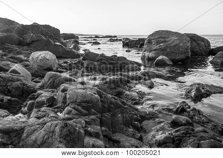 Monochrome Photo Landscape Of Sea Rocky Coast