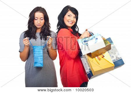 Sad And Happy Women At Shopping