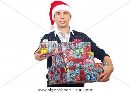 Happy Man In Santa Hat Offer Gift
