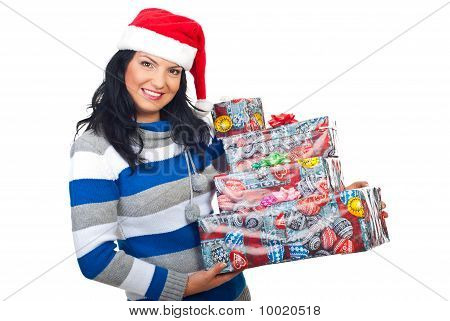 Attractive Woman Holding Christmas Gifts