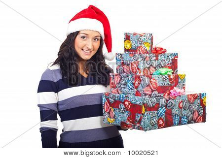 Young Smiling Woman Hold Xmas Presents