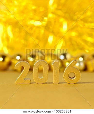2016 Year Golden Figures And Golden Christmas Decorations