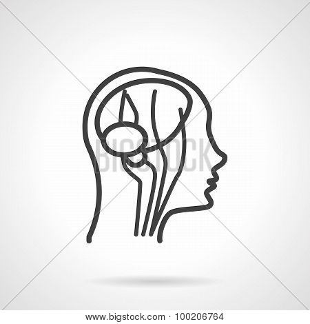 Anatomy brain black line vector icon