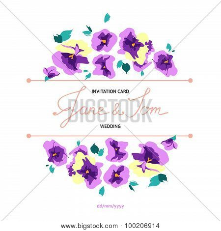 Invitation card with floral pansy bouquets