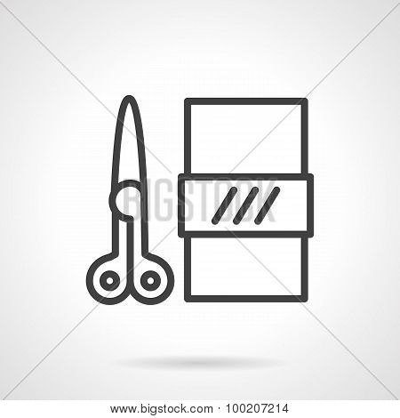 Scissors and paper  black line vector icon