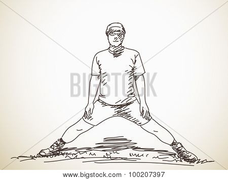 Sketch of stretching man Hand drawn vector illustration
