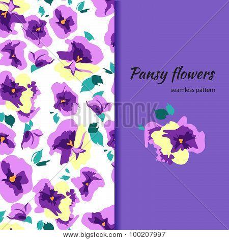 pansy seamless pattern