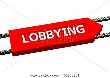 Word Lobbying The Arrow Isolated On White Background