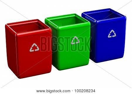 Recycling Bins Isolated On White Background