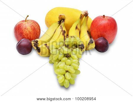 Fruit collage with bananas apples & plums