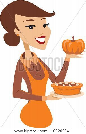 Young Lady Holding Baked Pumpkin Pie