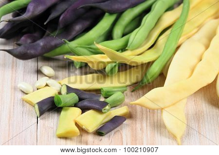 Raw Yellow, Green And Violet Beans