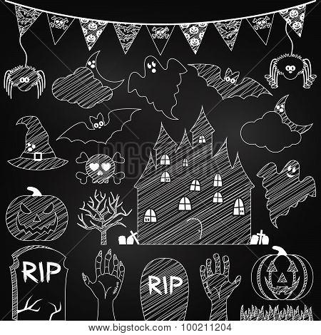 Vector Set of Chalkboard Halloween Elements