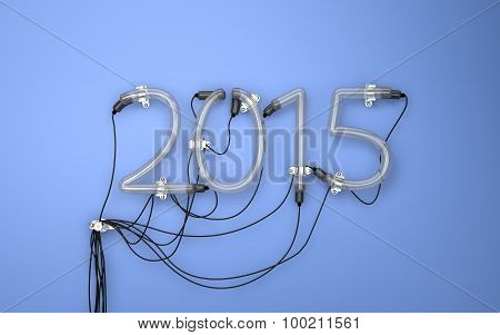 2015 Neon Light Blue Background 3D