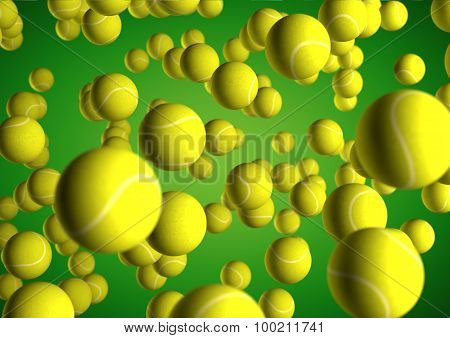 Lots Of Tennis Balls Flying Through The Air On Green Background