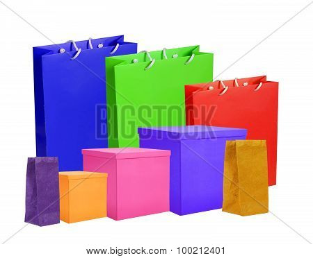Colourful Paper Shopping Bags And Boxes Isolated On White