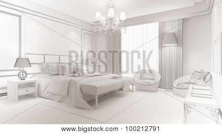 CAD planning of modern bedroom with wireframe mesh and white 3D Rendering