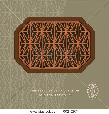 Chinese window tracery polygon frame 13 rhomb
