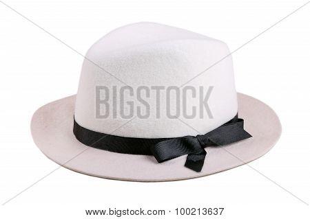 White Felt Hat With Black Ribbon Isolated On White