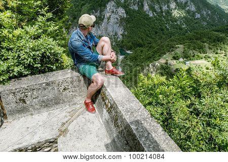 Man Admiring View Of The Tara River Canyon.