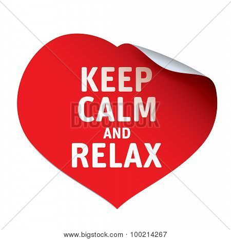 Red Heart And Sticker Keep Calm And Relax