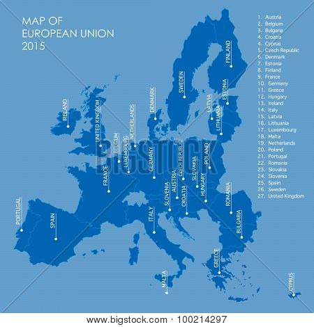 Blue Map Of European Union Borders