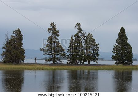 Rain On Yellowstone Lake