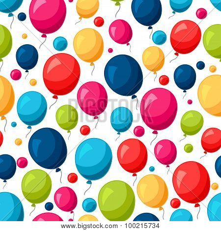 Celebration festive seamless pattern with colorful balloons
