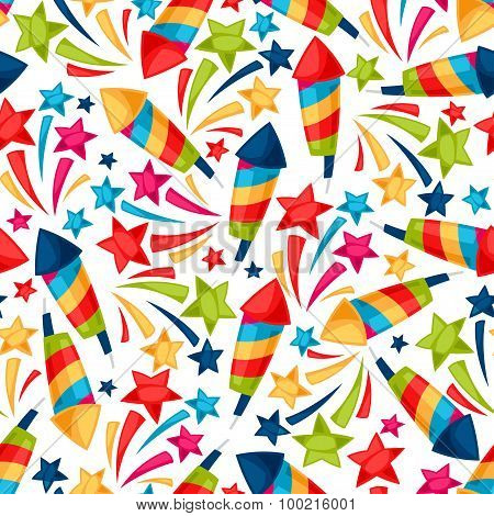 Celebration festive seamless pattern with colorful fireworks