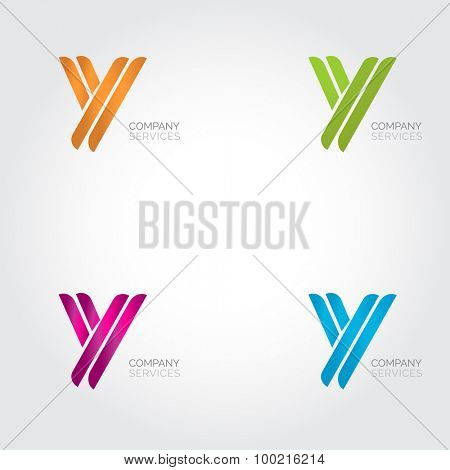 Letter Y logotype design. Abstract letter icon logo set. Blue, green, orange and pink colored Y letter.