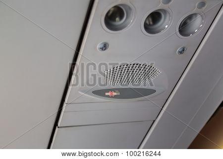 No smoking sign  on the airplane