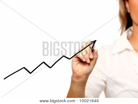 Businesswoman Writing A Graph
