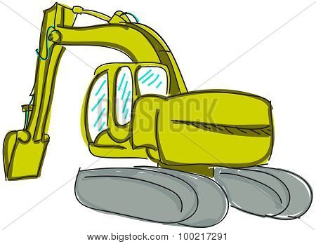 Drawn digger on white