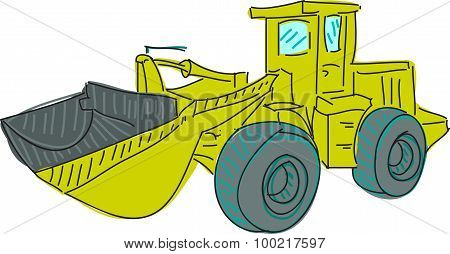 Drawn colored excavator on white