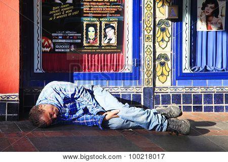 Homeless Man Sleeps On The Street