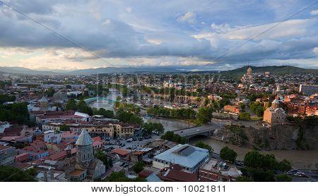 Bird Eye View Panorama. Tbilisi. Georgia.